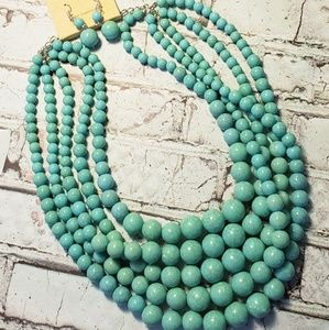 Jewelry - 5 strand multilayer faux turquoise bead set